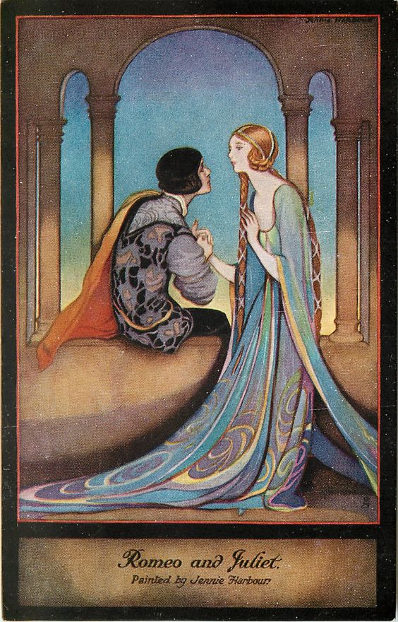Romeo and Juliet postcard, painted by Jennie Harbour ...