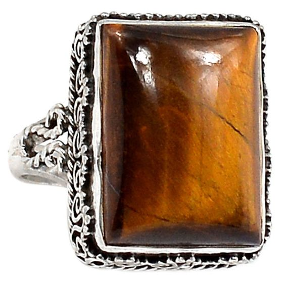 Tiger Eye 925 Sterling Silver Ring Jewelry s8.5 TEYR622 - JJDesignerJewelry