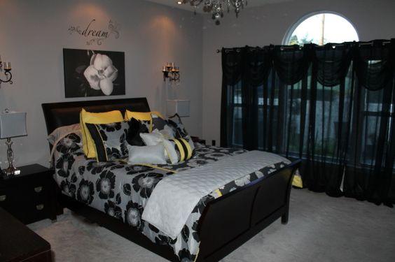 Gray and yellow bedroom ideas gray black yellow for Black and yellow bedroom designs