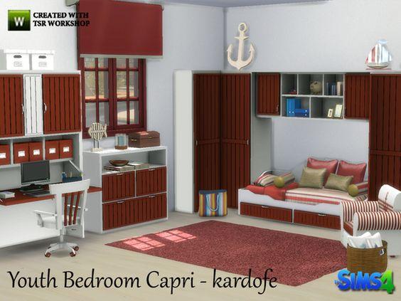 TSR   Kardofe   Youth Bedroom Capri. TSR   Kardofe   Youth Bedroom Capri    Furnitures   Bedroom Sims4
