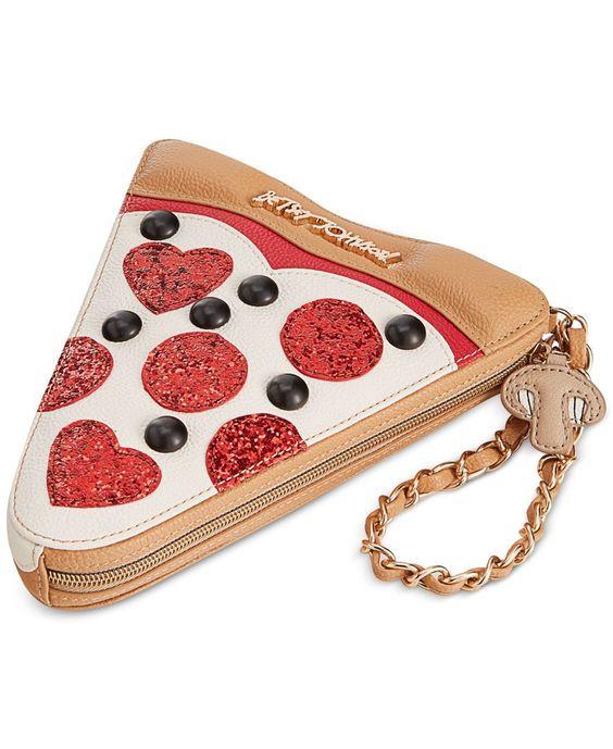 I want this SOOOOO BAD !!! Betsey Johnson Pizza Wristlet - Handbags & Accessories - Macy's