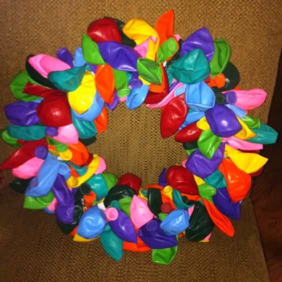 Balloon wreath I made for Parker's 2nd Birthday Party
