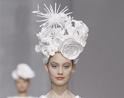 Paper floral headpieces created by Katsuya Kamo for Karl Lagerfeld's CHANEL Haute Couture S/S 2009 Collection, photos © CHANEL