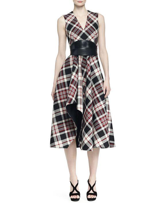 Alexander McQueen Ruffled Plaid Midi Dress & No-Buckle Leather Waist Belt