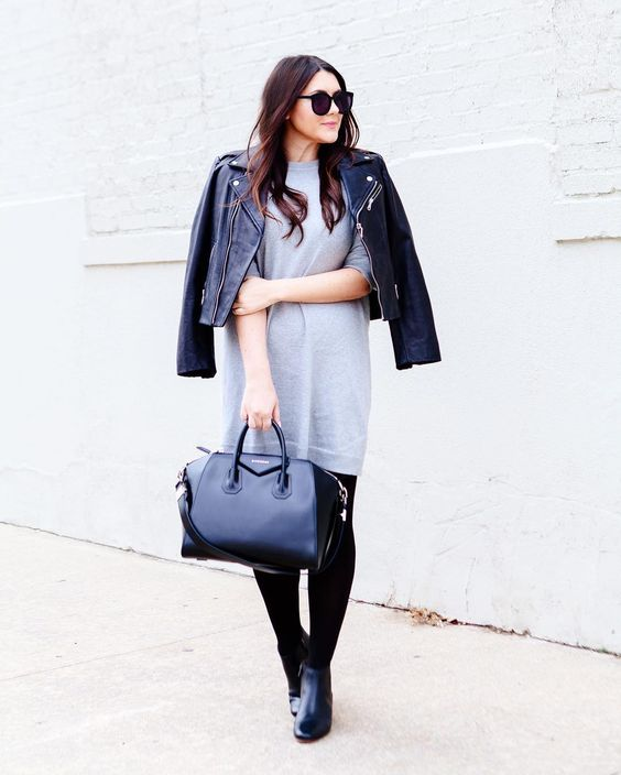 Don't let the chicness of this outfit fool you: this is pretty much the comfiest dress I own. We are talking pj level comfy here.  http://liketk.it/2q6ra @liketoknow.it #liketkit #ontheblog #grey #rebeccaminkoff #vince