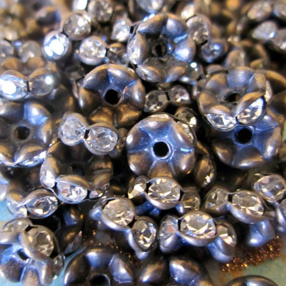 8 mm Vintage Patina Brass Czech Crystal Rhinestone Rondelle Spacers - Central Coast Charms