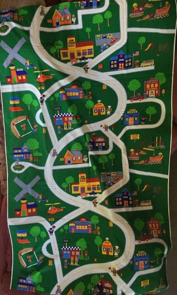Fabric Roads For Toy Cars : Vip cranston teddy bear town roads village fabric panel