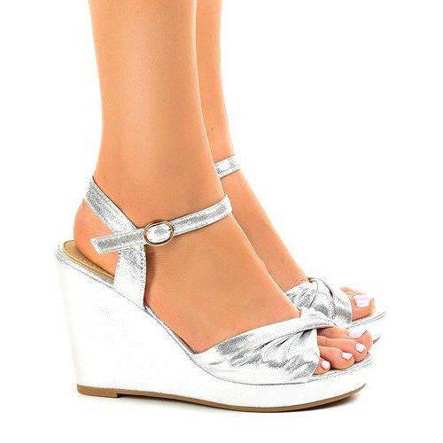 Srebrne Sandaly Na Koturnie Blyszczace Jm M215m Szare Espadrilles Shoes Wedges