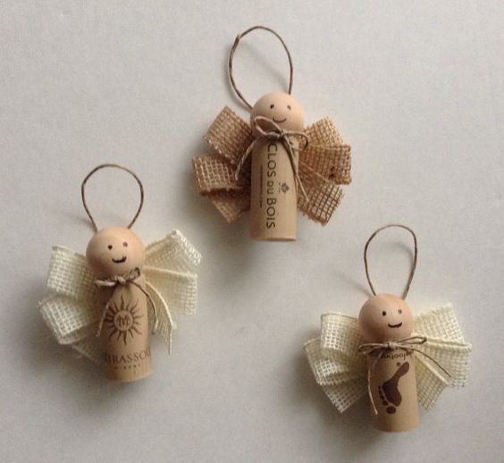 Wine Cork Angel Ornaments Set of 3 by TheSimpleUpcycler on Etsy