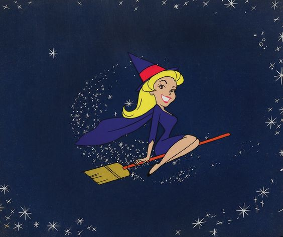 """Samantha production cel with effects cel from the opening title to """"Bewitched."""" (Screen Gems TV, 1970) Animated by Hanna-Barbera Studios, this original production cel of Elizabeth Montgomery as """"Samantha Stevens"""" is from the """"Oscar Meyer Presents"""" animated sequence of the opening titles used during the 7th Season of the show. Samantha is perfectly centered. By far the best we've seen."""