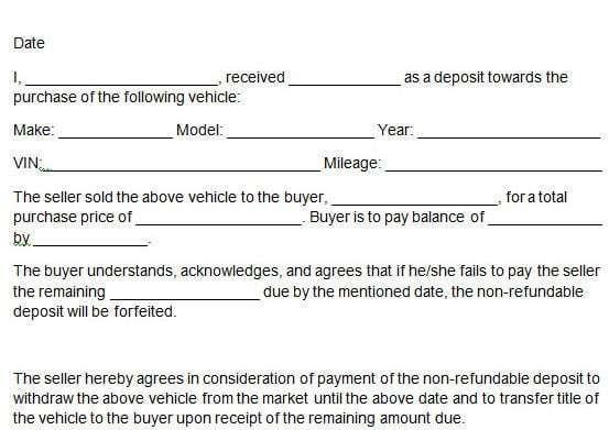 Car Deposit Form 6 Deposit Car Payment Understanding