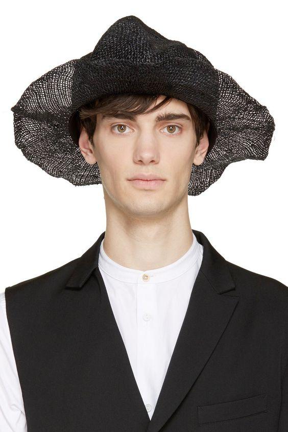Yohji Yamamoto Black Structured Rattan Hat