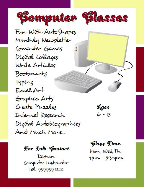 Computer Classes Flyer Template Created With Microsoft Word