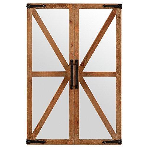 Stone Beam Rustic Wood And Iron Barn Door Mirror 30 H Natural Hanging Wall Mirror Mirror Wall Decor Rectangle Mirror