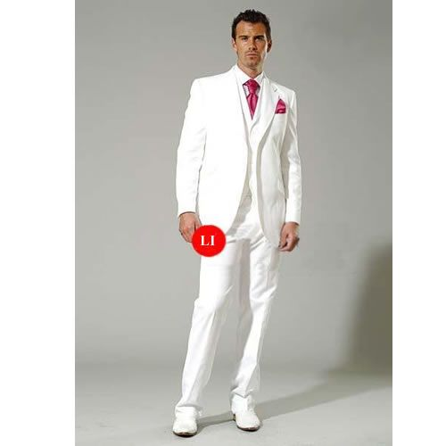 Buy Custom White 3 Piece Slim Fit Casual Dress Wedding Prom Suits