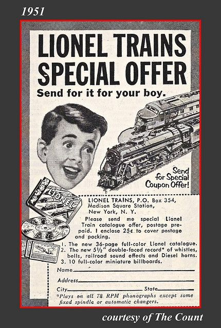 1951 Ad for Lionel Trains, Christmas