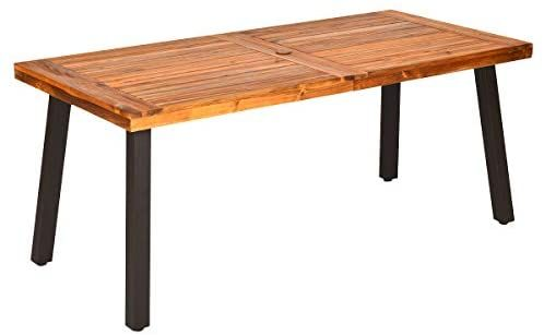 Wood Patio Table Dining, Outdoor Patio Dining Table With Umbrella Hole