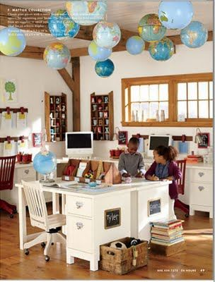 Globes on ceiling! I need to start a collection of globes.  I could do this in an office for my husband too.