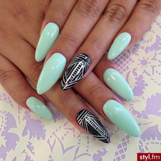 mint , tribal stiletto nails . | Nails | Pinterest | Diseños ...