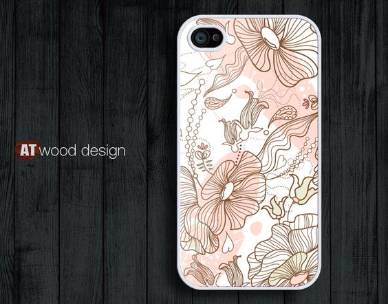 iphone 4 case iphone 4s case iphone 4 cover beautiful unique case illustrator pink flower design printing. $13.99, via Etsy.