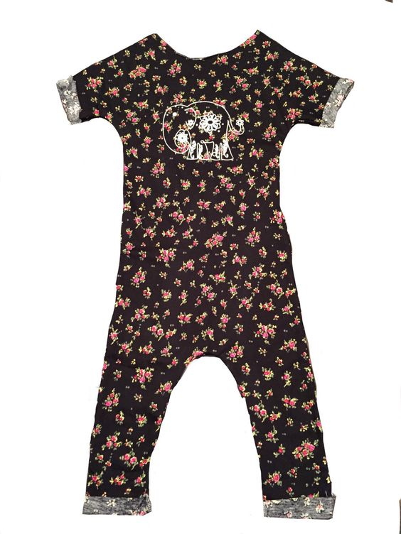 Elephant Dark Floral Romper by AmebelBaby on Etsy https://www.etsy.com/listing/233152315/elephant-dark-floral-romper