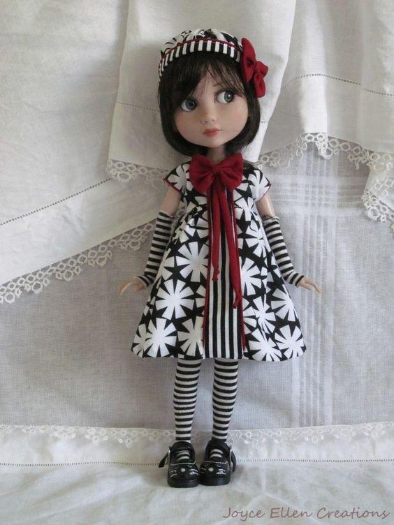 "Patience Tonner 14"" BJD fashion by JEC black & white Dress set OOAK #DollClothingAccessories"