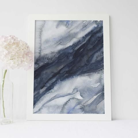 Watercolor Modern Abstract Navy Blue Art Print Or Canvas Blue