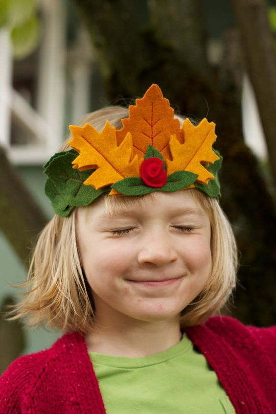 Titania's tiara - Fairy crown - Leaf felt Crown -  Kid's crown - mixed leaves with small rose