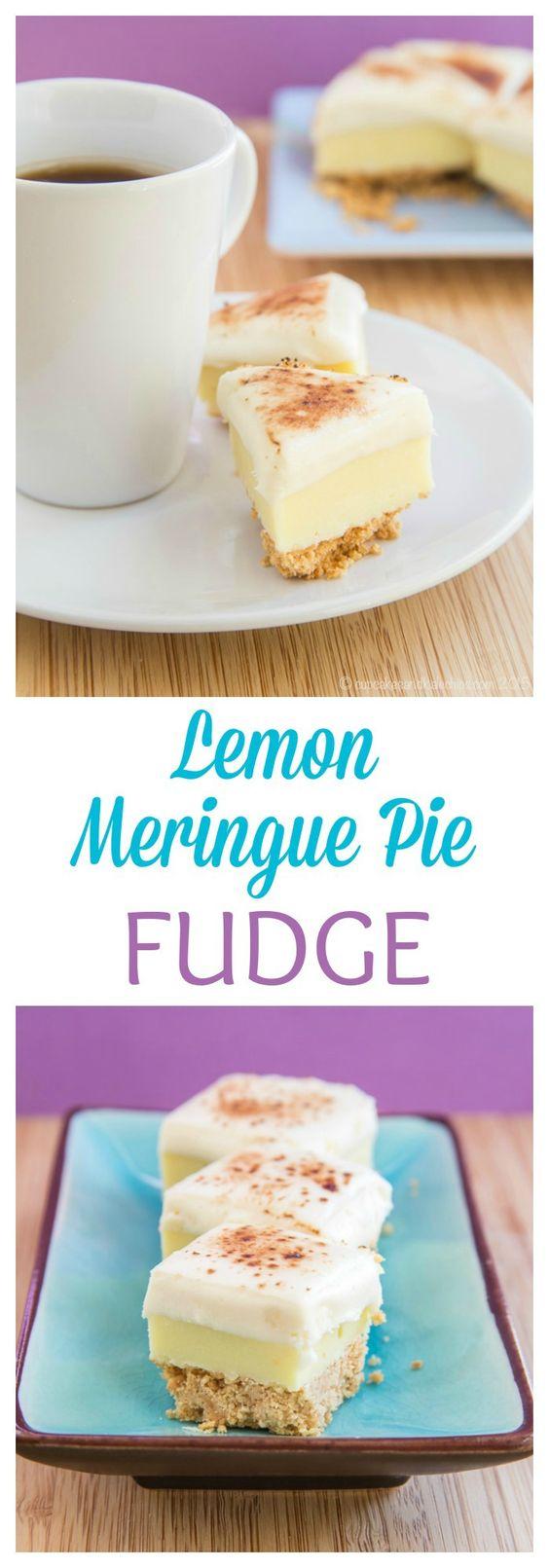 Lemon meringue pie, Meringue pie and White chocolate fudge on ...