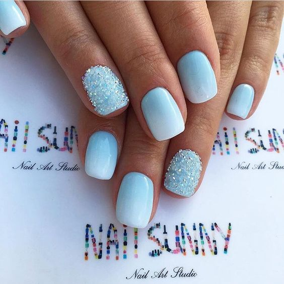 Icy Blue Nail Art Blue Gel Nails Blue Ombre Nails Ombre Nails