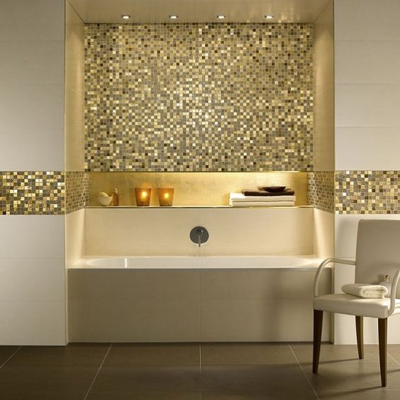 Bad fliesen and badezimmer on pinterest - Mosaik fliesen gold ...