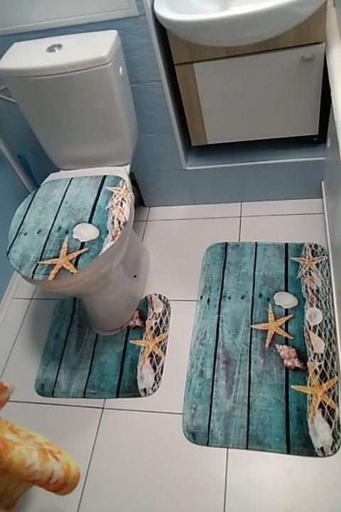 3 Pcs Ensemble Non Slip Flanelle Salle De Bains Piedestal Tapis Couvercle De Toilette Couvrir Tapis De Bain Mer M Tapis De Bain Tapis De Sol Tapis Toilette