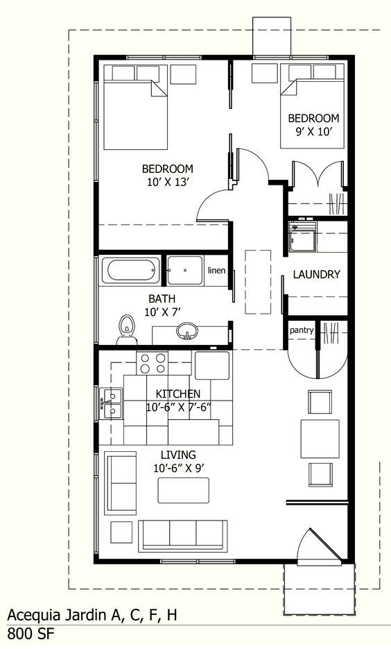 I like this one because there is a laundry room 800 sq ft
