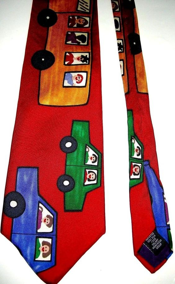 Teacher School Bus Driver Road to Success Mens Necktie Tie Save the Children  #SalantMenswearGroup #NeckTie