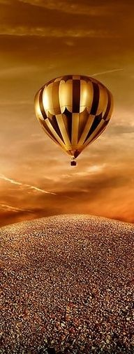 air balloon in shades of gold and brown