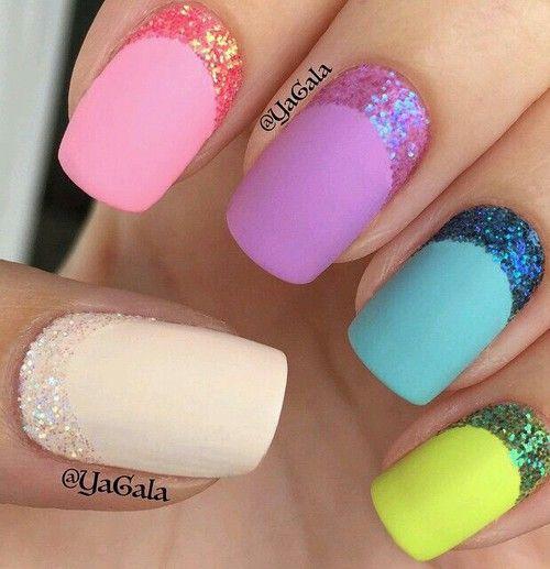 #Blue, #Glitter, #GreenLemon #nails - Nail art desing