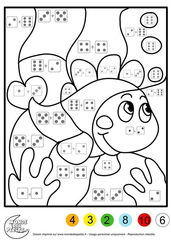 Coloriage Magique Addition A Colorier Dessin A Imprimer Kids Math Worksheets Preschool Math Math Coloring