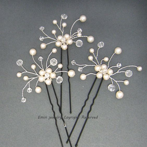 3 Bridal Hair Pins Set Wedding Hair por adriajewelry en Etsy