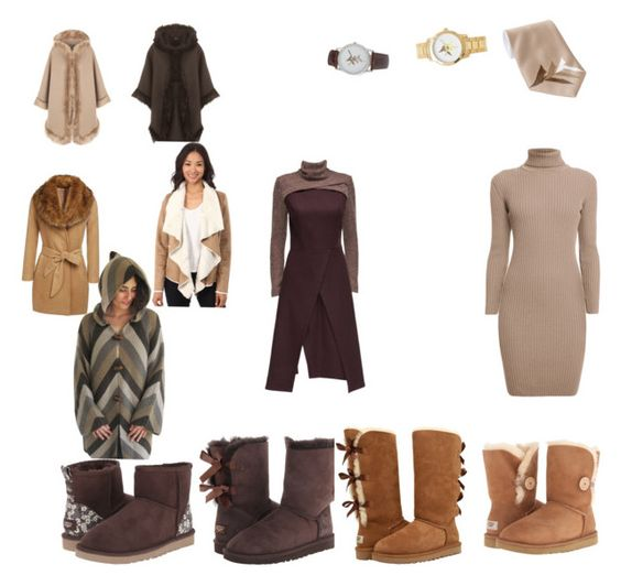 """""""Women's Brown Truth Transcends Translation Work Winter Outfit"""" by eternalfeatherfilm on Polyvore featuring WearAll, Brigitte Bailey, Lattori, Rumour London and UGG Australia"""