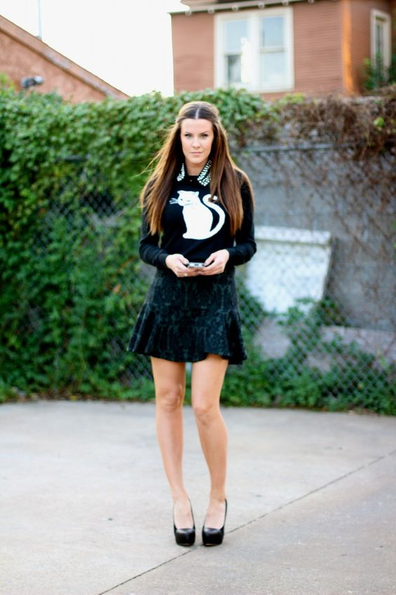 Top: Forever 21, old (But here are some other adorable, similar cat sweater options: ASOS, Dorothy Perkins, ModCloth, Metropark, Wildfox); S...