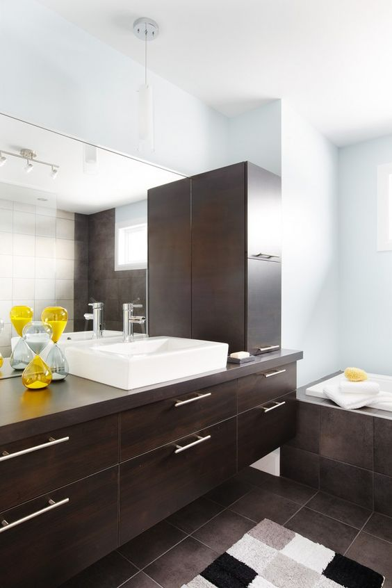 Armoires de salle de bains contemporaines en m lamine for Salle de bain quebec