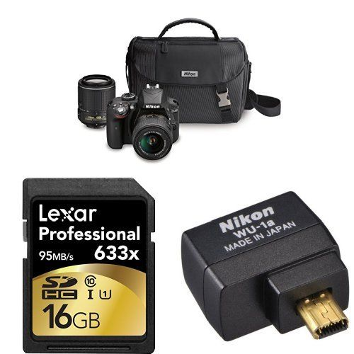 Nikon D3300 DX-format DSLR Kit w/ 18-55mm and 55-200mm Lenses + Accessories Including Wi-Fi Adapter