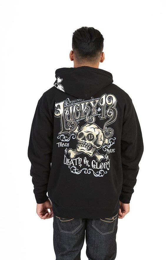 Lucky 13 Ye Olde Men's Full Zip Black Graphic Hoodie Sweatshirt  #Lucky13 #Hoodie