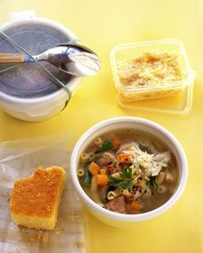 This hearty soup makes a nice weekday lunch. Heat it in the morning and bring it to work in a thermos. By choosing a pasta made from whole wheat instead of semolina, you add more fiber to your meal.