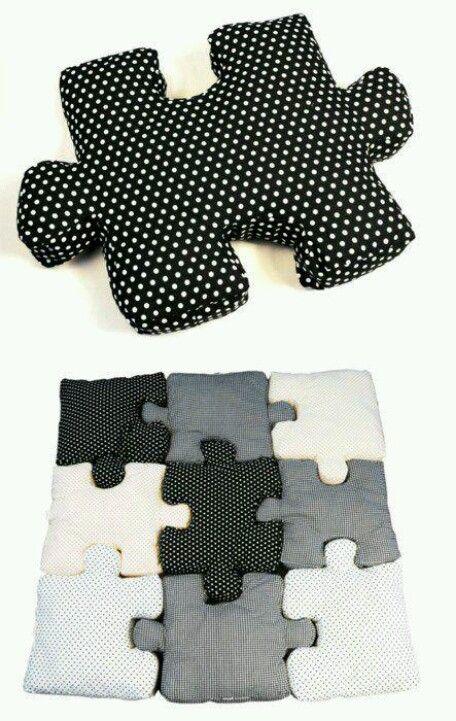 Colchoneta con forma de puzzle, fácil de hacer y muy creativa y decorativa.