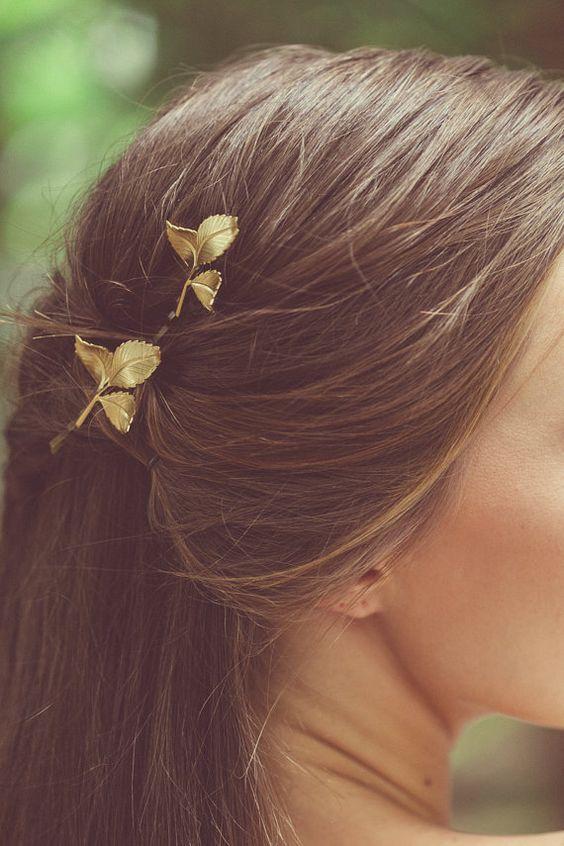 Grecian Leaf Hair Clips Gold Leaf Bobby Pins Leaf Hair ...