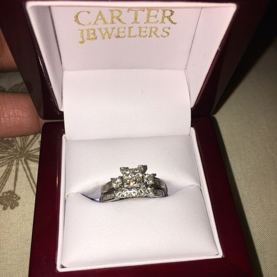 Beautiful engagement set REDUCED ‼️‼️2  days ONLY Diamond set , 10k white gold , worn about 3 months , no appraisal selling for a friend . The princess cut has invisible diamond setting . Size 7 . Ring totaling over 1ct , ring will be cleaned before shipping and price neg ‼ I willNot take 200 Diamond ring Jewelry Rings