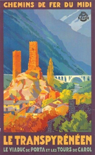 chemins de fer du midi - Le Transpyrénéen - Le viaduc de Porta et les tours de Carol - illustration de Pierre Commarmond -