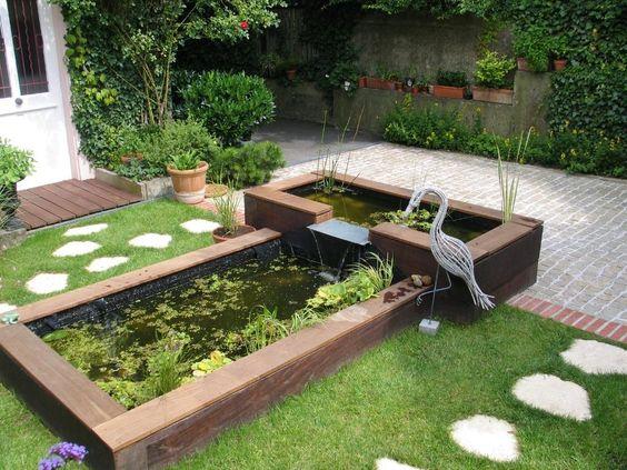 Bassin de jardin r alis s en traverses de bois exotiques une r alisation sc nes de - Bassin bois rectangulaire mulhouse ...