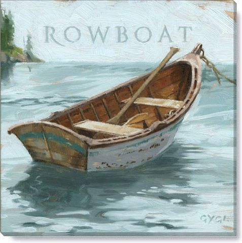 Rowboat Canvas Art Print Rowboat Painting Row Boat Gallery Wrap Canvas